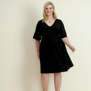 OLD NAVY Faux Wrap Jersey Fit Flare Midi Dress 1X